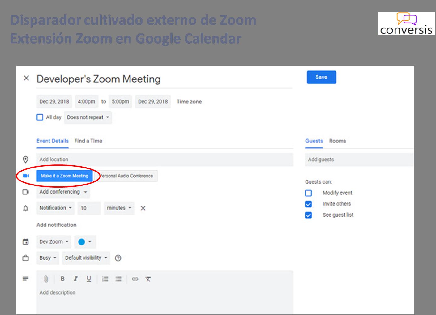 Disparador cultivado externo de Zoom